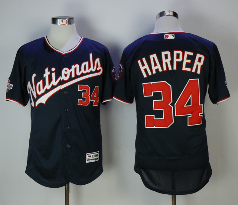Nationals 34 Bryce Harper Navy 2018 All-Star Game Flexbase Jersey