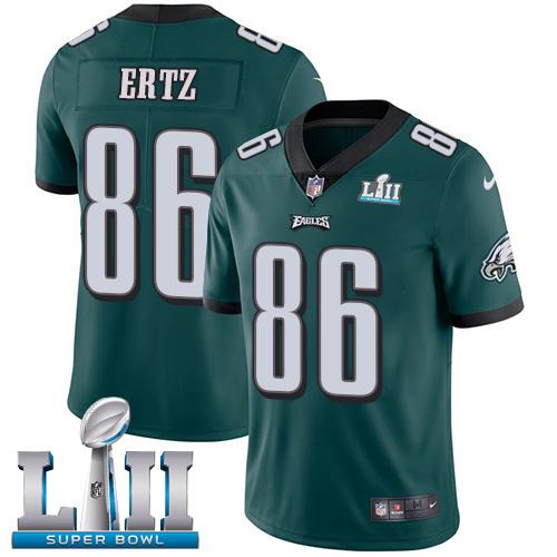 Nike Eagles 86 Zach Ertz Green 2018 Super Bowl LII Vapor Untouchable Player Limited Jersey
