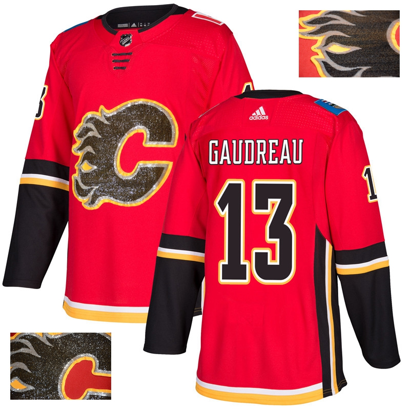 Flames 13 Johnny Gaudreau Red With Special Glittery Logo Adidas Jersey
