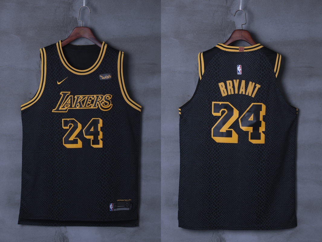 Lakers 24 Kobe Bryant Black City Edition Nike Authentic Jersey