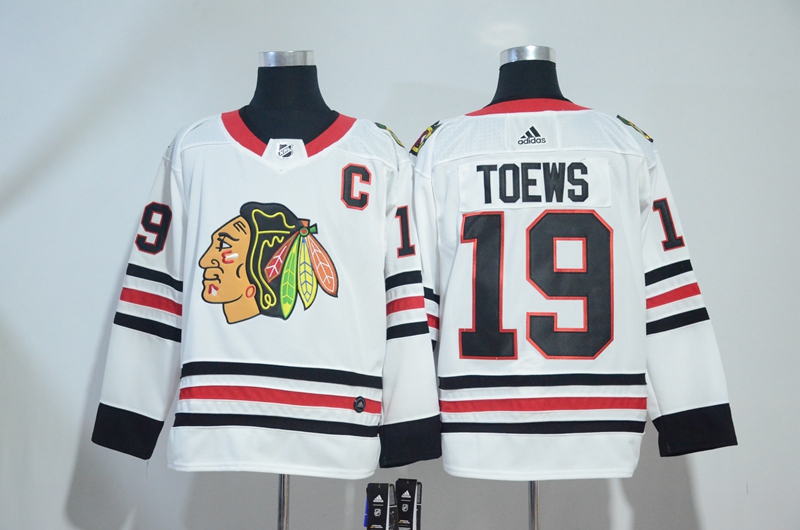 Blackhawks 19 Jonathan Toews White Adidas Jersey