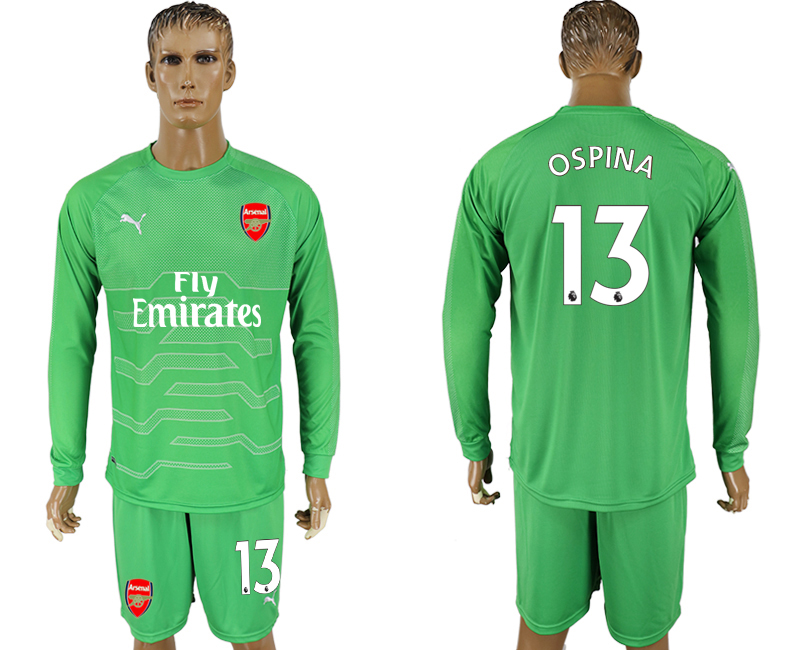 2017-18 Arsenal 13 OSPINA Green Long Sleeve Goalkeeper Soccer Jersey