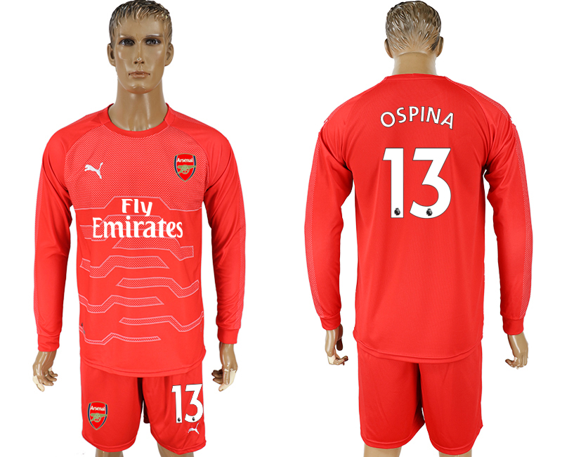 2017-18 Arsenal 13 OSPINA Red Long Sleeve Goalkeeper Soccer Jersey