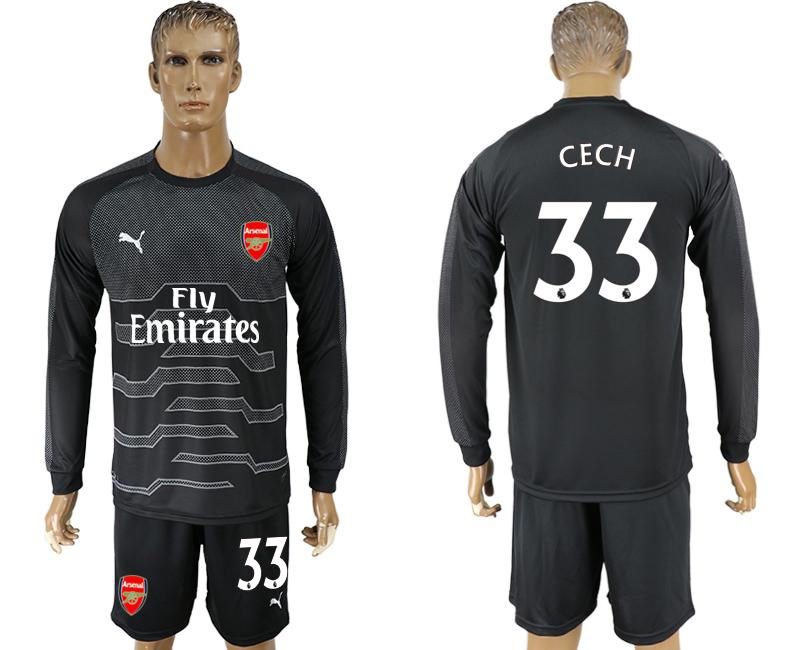 2017-18 Arsenal 33 CECH Black Long Sleeve Goalkeeper Soccer Jersey