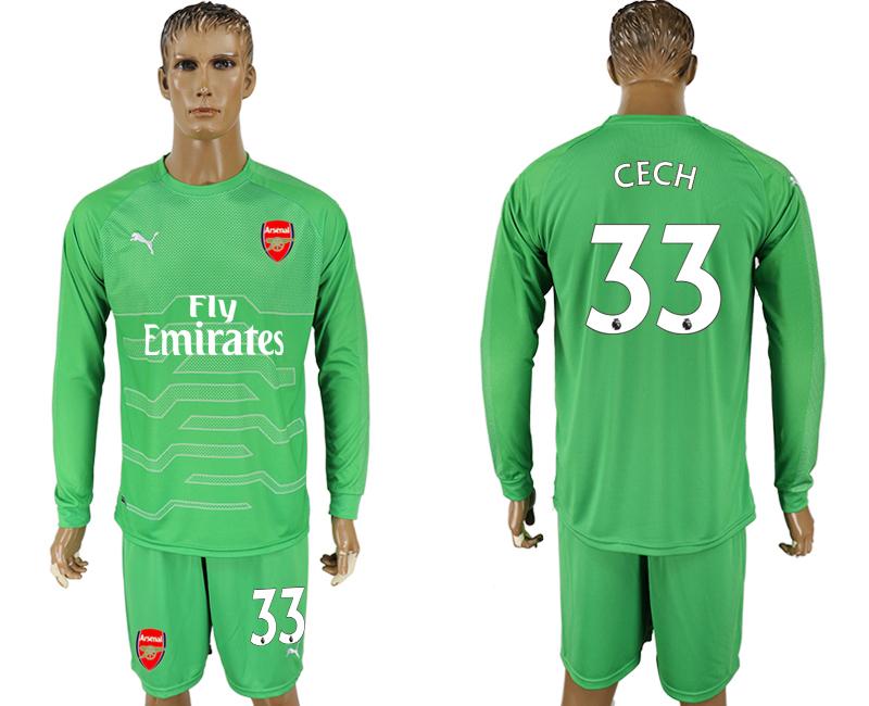 2017-18 Arsenal 33 CECH Green Long Sleeve Goalkeeper Soccer Jersey