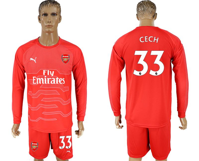 2017-18 Arsenal 33 CECH Red Long Sleeve Goalkeeper Soccer Jersey