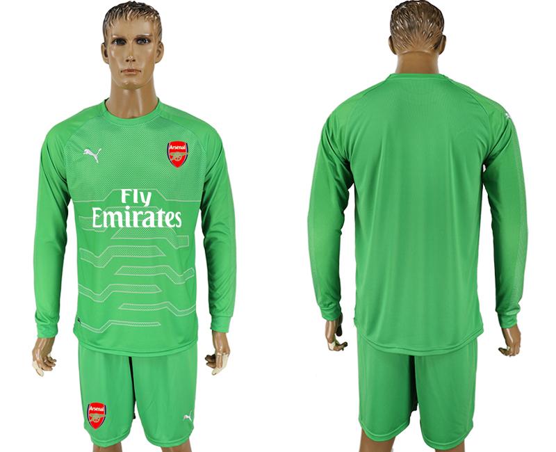 2017-18 Arsenal Green Long Sleeve Goalkeeper Soccer Jersey