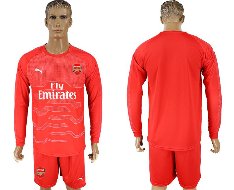 2017-18 Arsenal Red Long Sleeve Goalkeeper Soccer Jersey