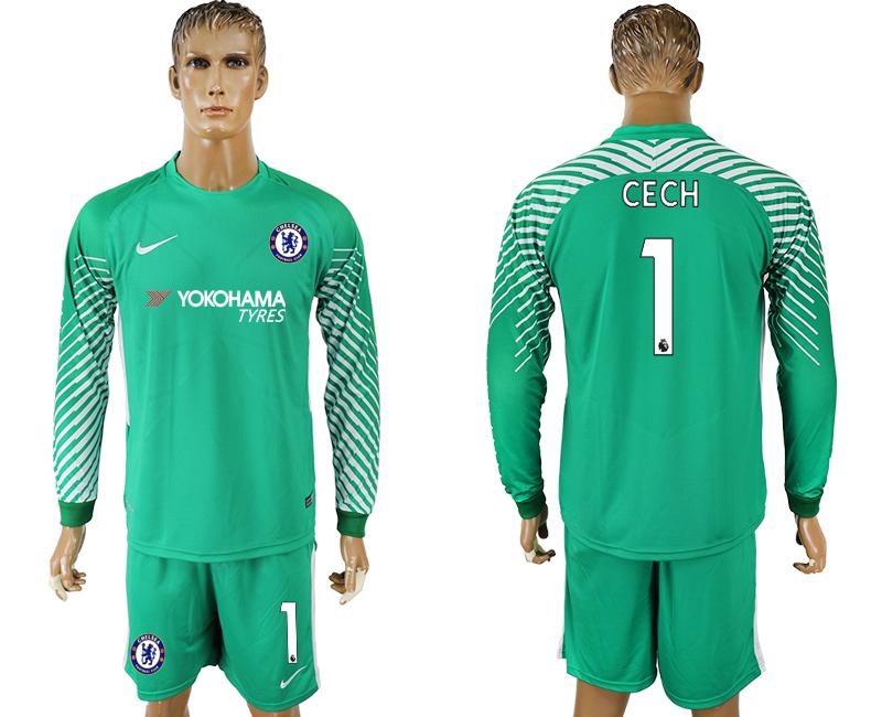 2017-18 Chelsea 1 CECH Green Long Sleeve Goalkeeper Soccer Jersey