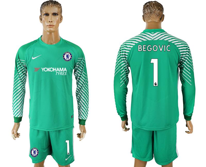 2017-18 Chelsea 1 Green Long Sleeve Goalkeeper Soccer Jersey