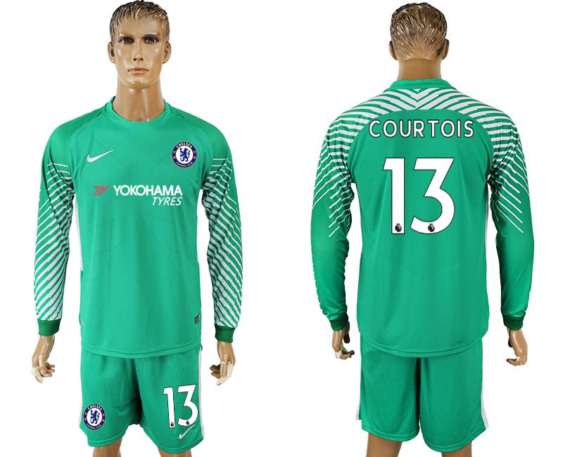 2017-18 Chelsea 13 COURTOIS Green Long Sleeve Goalkeeper Soccer Jersey