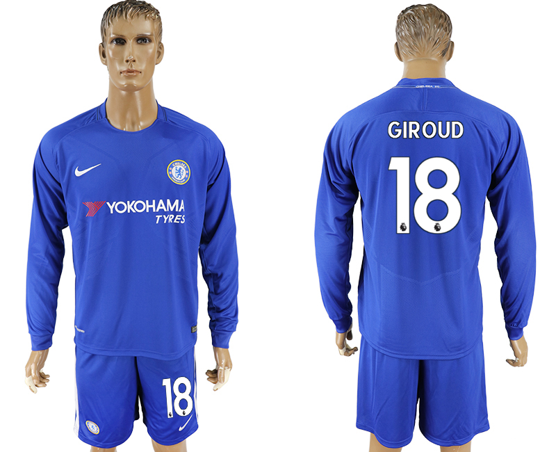 2017-18 Chelsea 18 GIROUD Home Long Sleeve Soccer Jersey