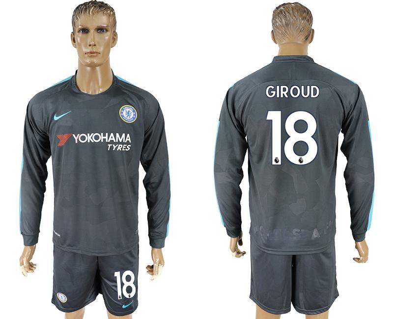 2017-18 Chelsea 18 GIROUD Third Away Long Sleeve Soccer Jersey