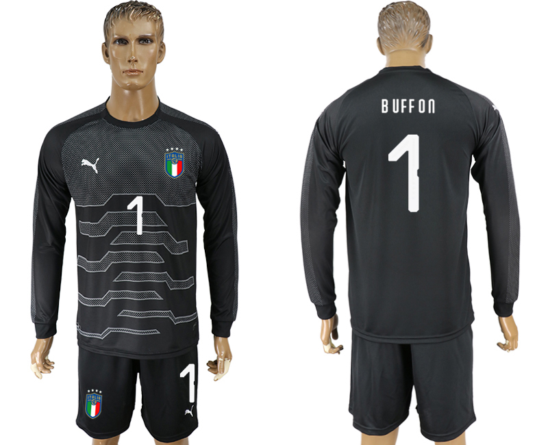 Italy 1 BUFFON Black Goalkeeper 2018 FIFA World Cup Long Sleeve Soccer Jersey