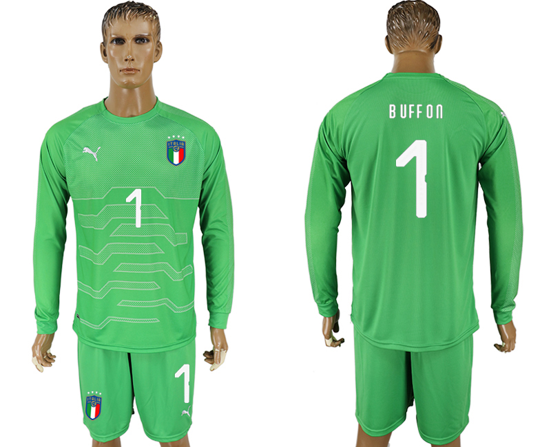 Italy 1 BUFFON Green Goalkeeper 2018 FIFA World Cup Long Sleeve Soccer Jersey