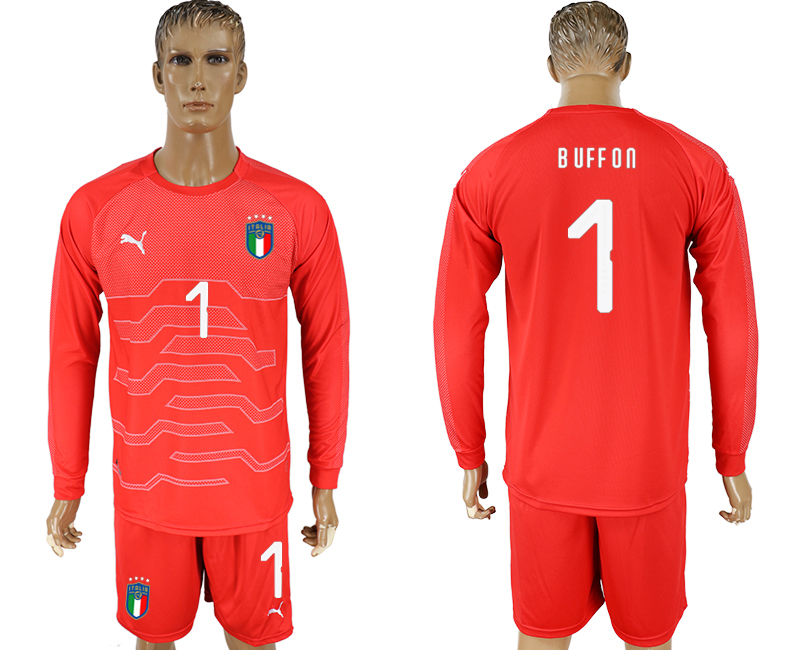 Italy 1 BUFFON Red Goalkeeper 2018 FIFA World Cup Long Sleeve Soccer Jersey