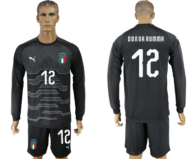 Italy 12 DONNA RUMMA Black Goalkeeper 2018 FIFA World Cup Long Sleeve Soccer Jersey