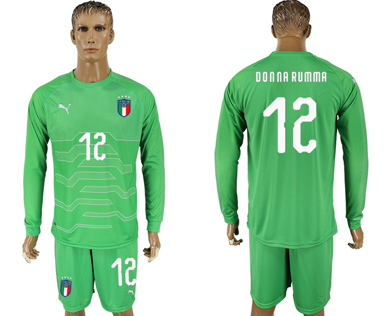 Italy 12 DONNA RUMMA Green Goalkeeper 2018 FIFA World Cup Long Sleeve Soccer Jersey