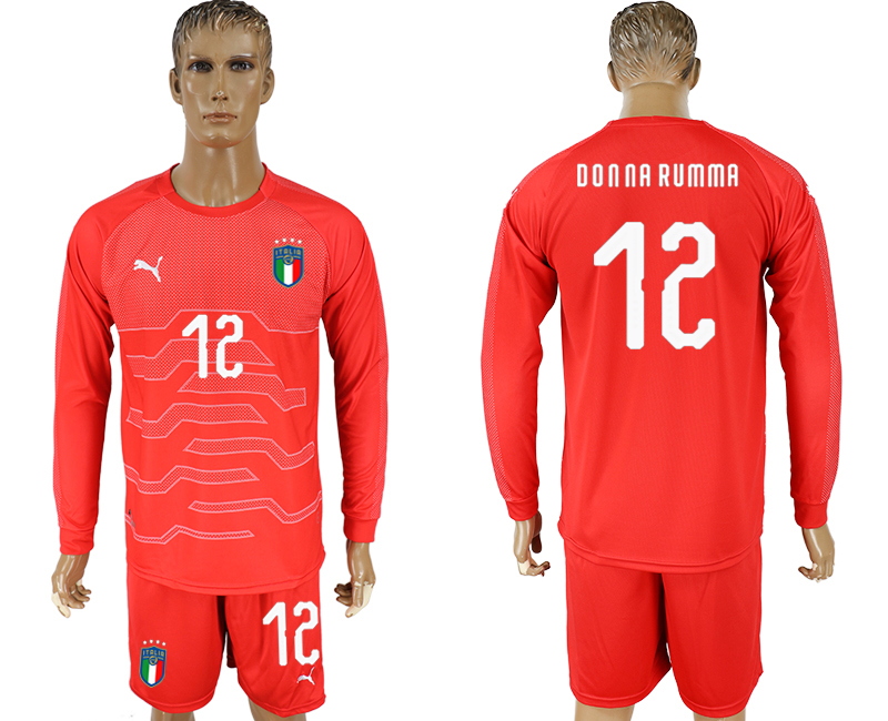 Italy 12 DONNA RUMMA Red Goalkeeper 2018 FIFA World Cup Long Sleeve Soccer Jersey