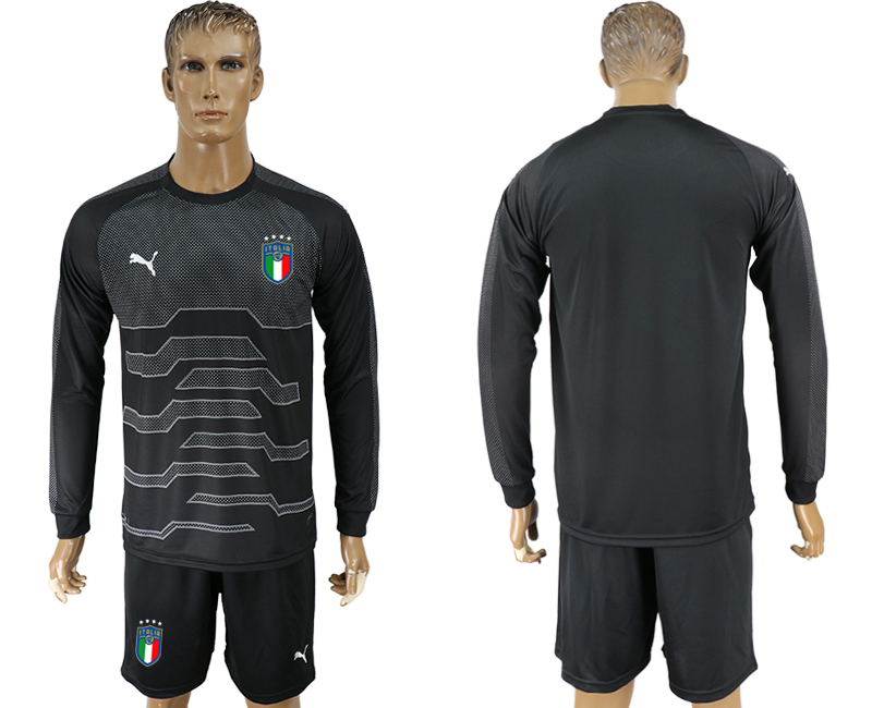 Italy Black Goalkeeper 2018 FIFA World Cup Long Sleeve Soccer Jersey