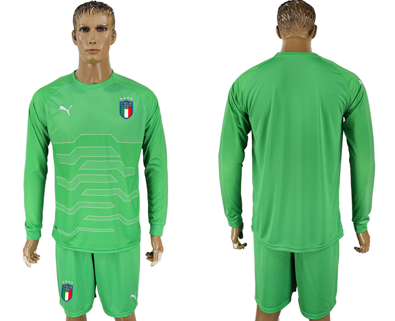 Italy Green Goalkeeper 2018 FIFA World Cup Long Sleeve Soccer Jersey
