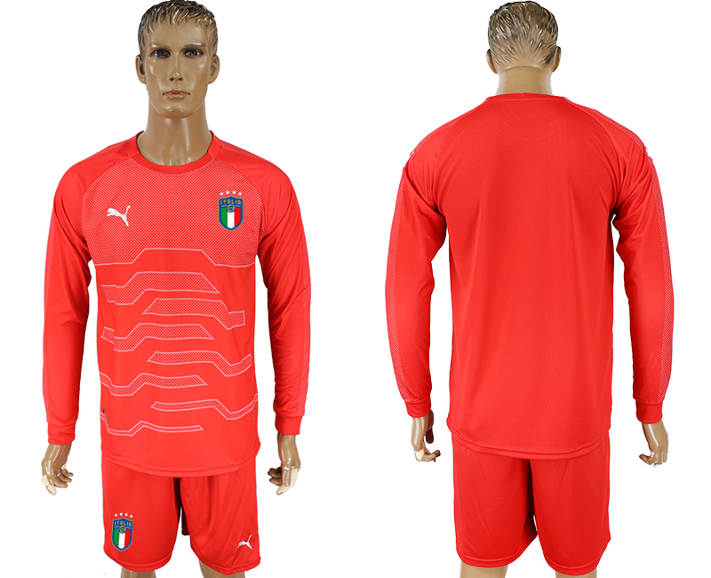 Italy Red Goalkeeper 2018 FIFA World Cup Long Sleeve Soccer Jersey