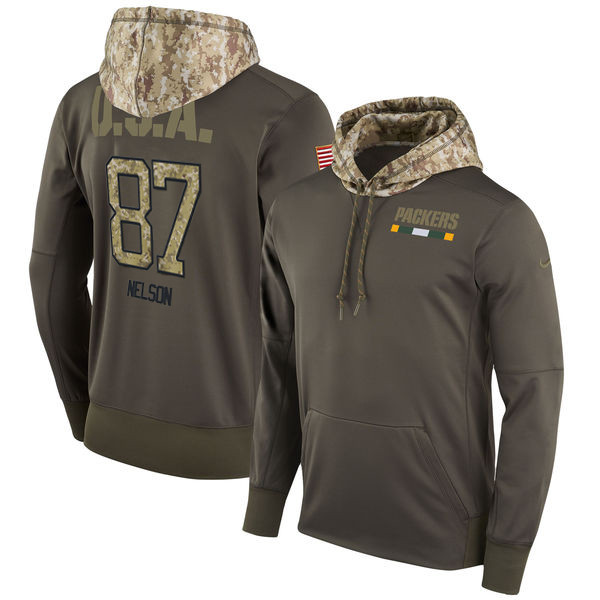 Nike Packers 87 Jordy Nelson Olive Salute To Service Pullover Hoodie