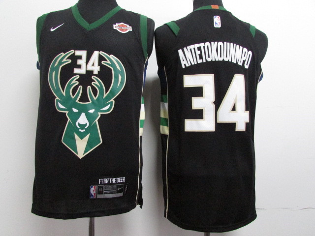 Bucks 34 Giannis Antetokounmpo Black Nike Youth Authentic Jersey