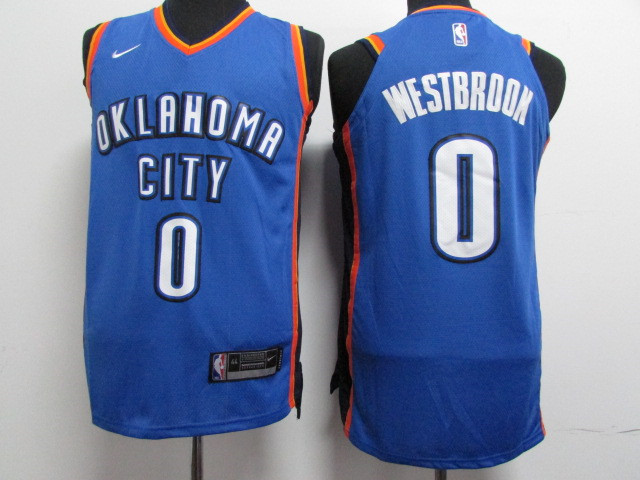 Thunder 0 Russell Westbrook Blue Nike Youth Authentic Jersey