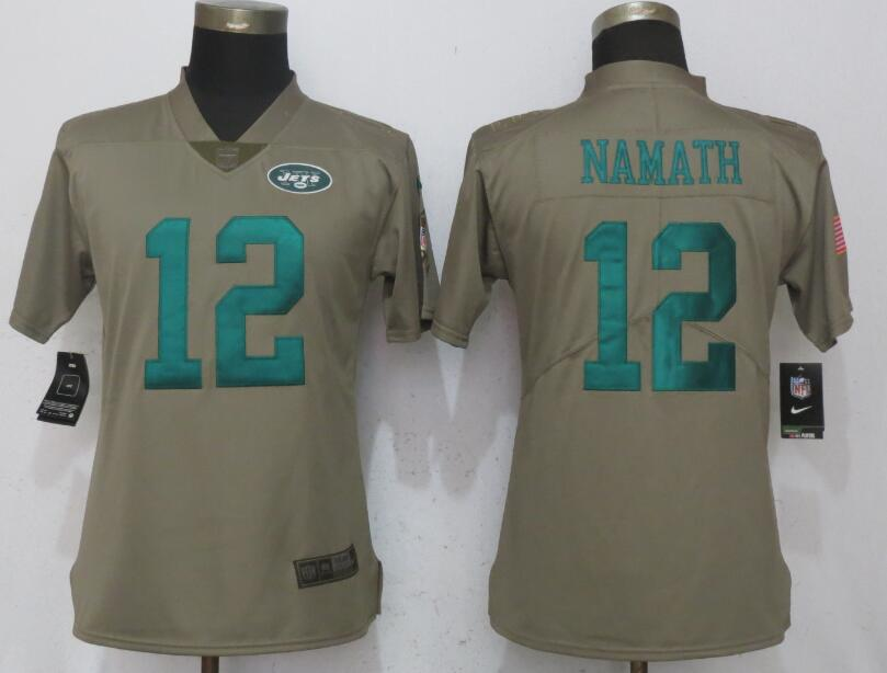 Nike Jets 12 Joe Namath Olive Women Salute To Service Limited Jersey