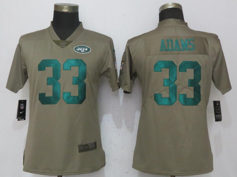 Nike Jets 33 Jamal Adams Olive Women Salute To Service Limited Jersey