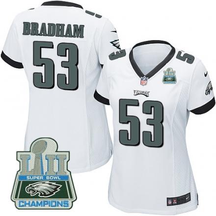 Nike Eagles 53 Nigel Bradham White Women 2018 Super Bowl Champions Game Jersey