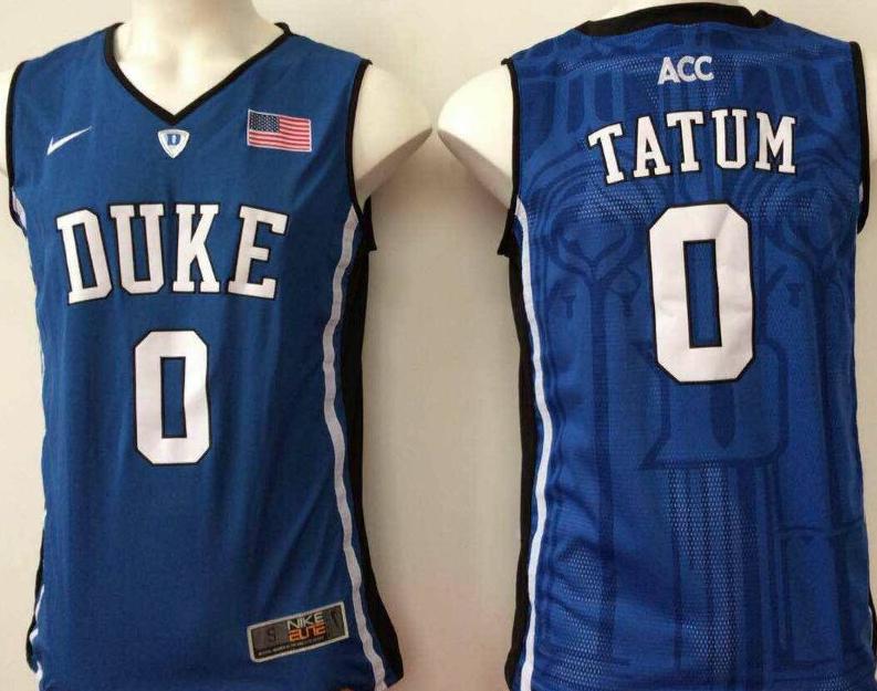 Duke Blue Devils 0 Jayson Tatum Navy College Basketball Jersey