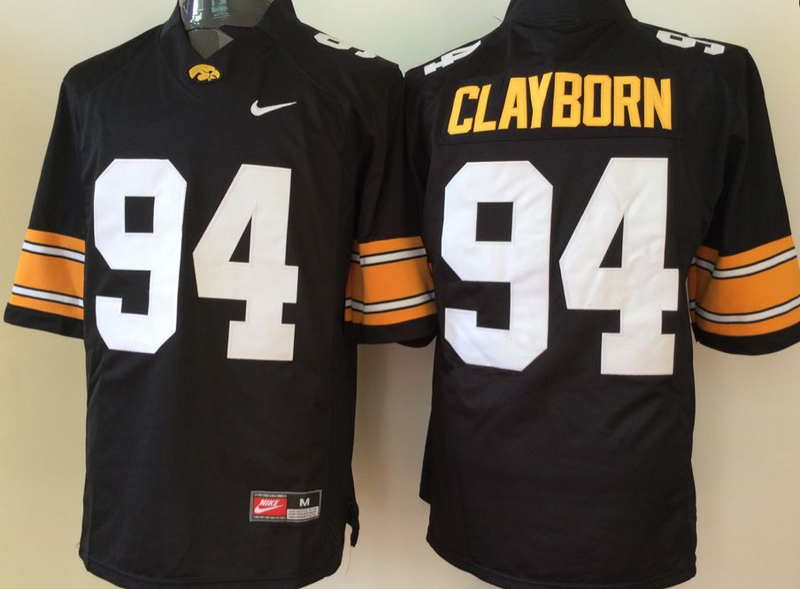 Iowa Hawkeyes 94 Adrian Clayborn Black College Football Jersey