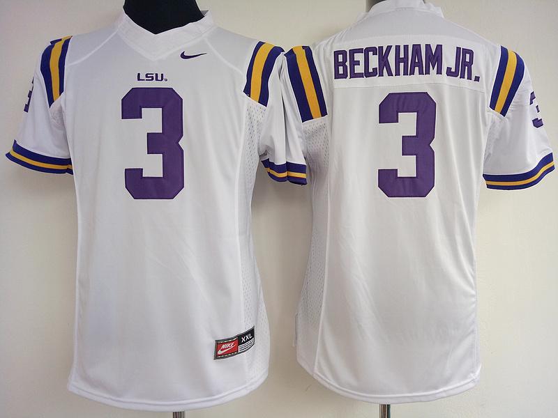 LSU Tigers 3 Odell Beckham Jr White College Football Jersey