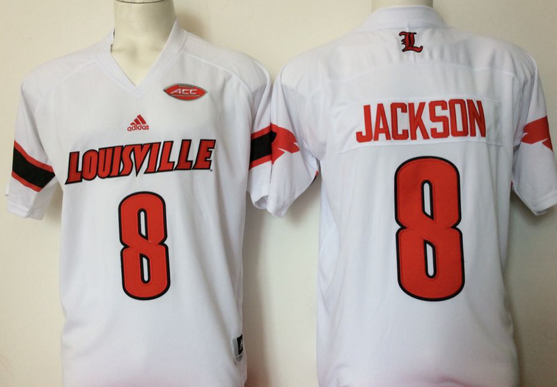 Louisville Cardinals 8 Lamar Jackson White College Football Jersey