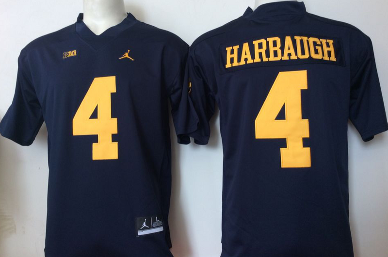 Michigan Wolverines 4 Jim Harbaugh Navy College Football Jersey