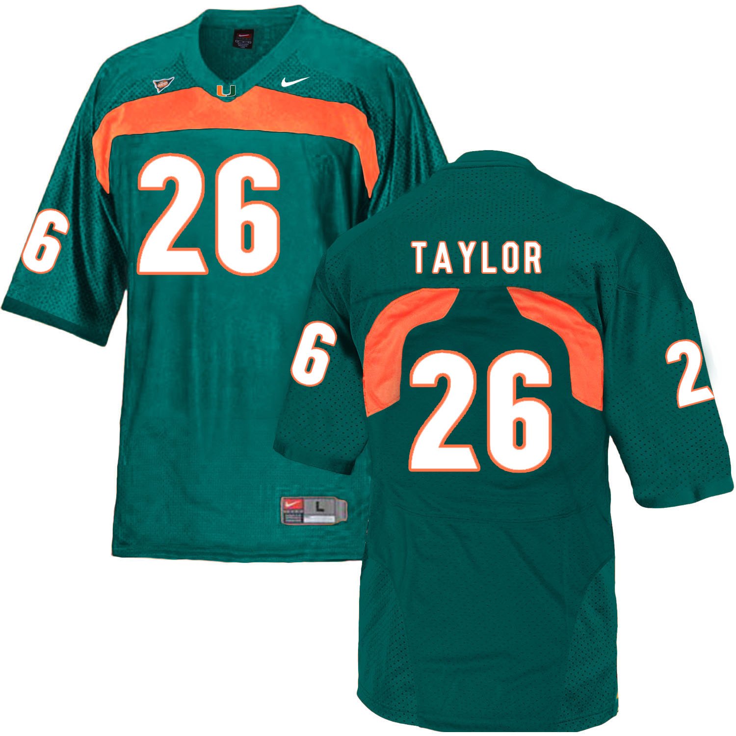 Miami Hurricanes 26 Sean Taylor Green College Football Jersey