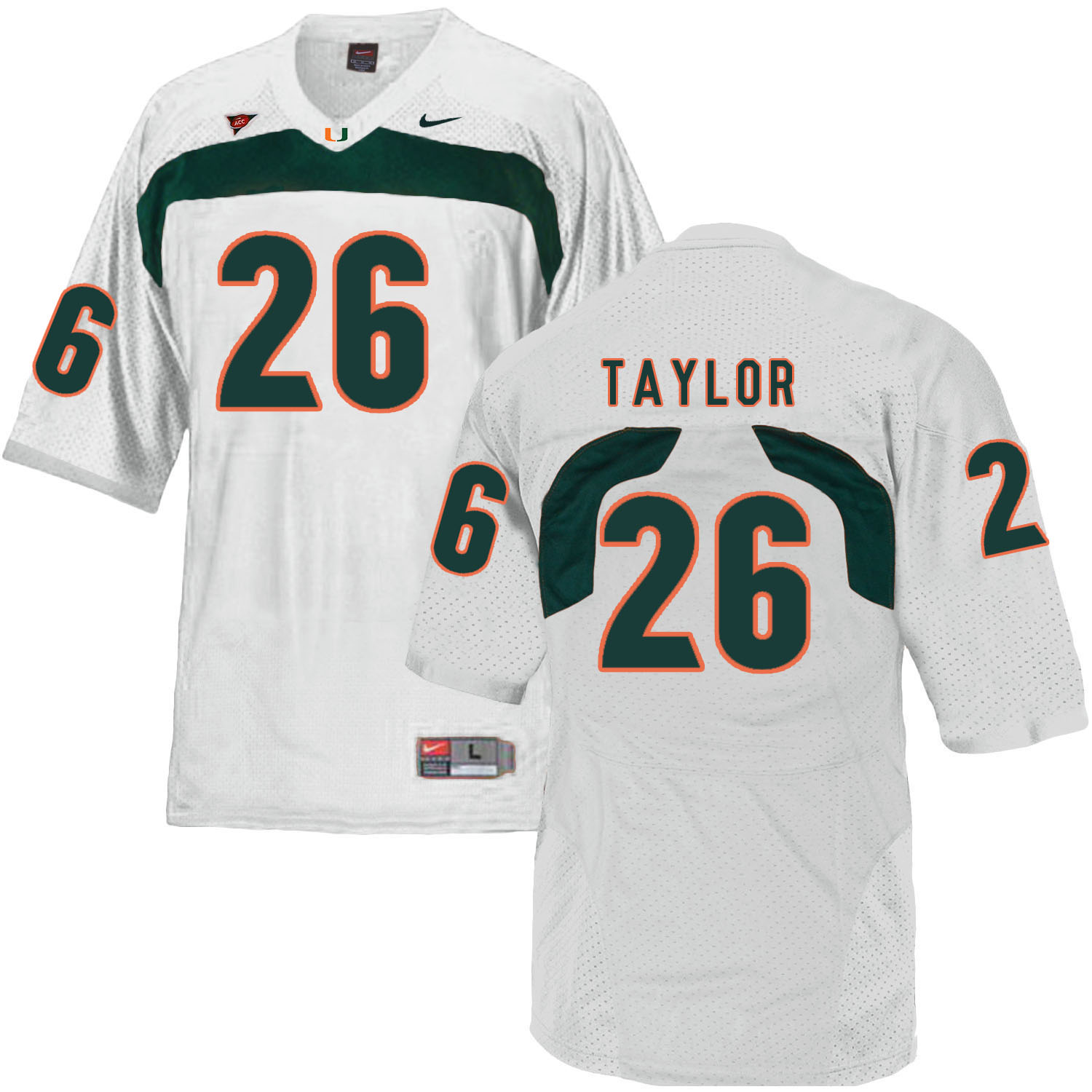 Miami Hurricanes 26 Sean Taylor White College Football Jersey