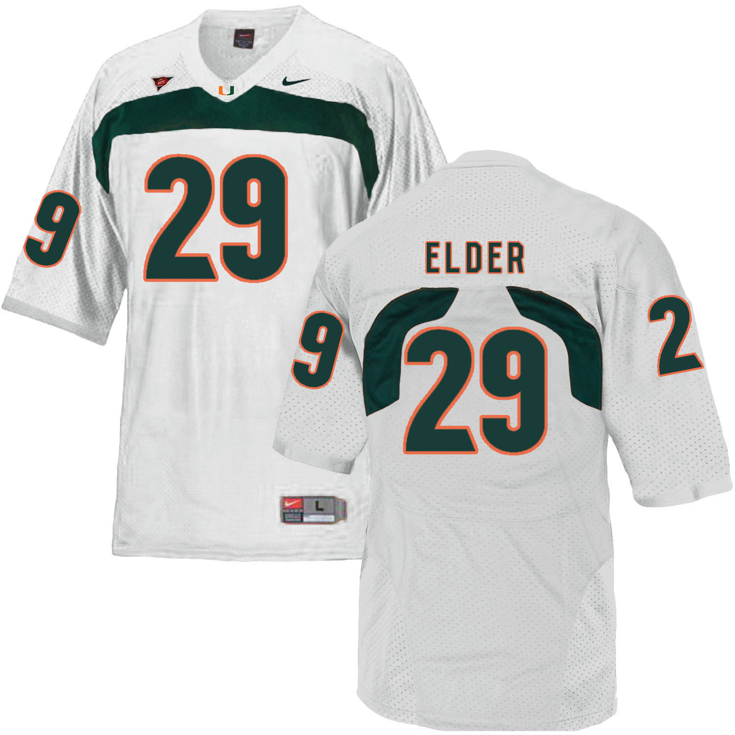 Miami Hurricanes 29 Corn Elder White College Football Jersey