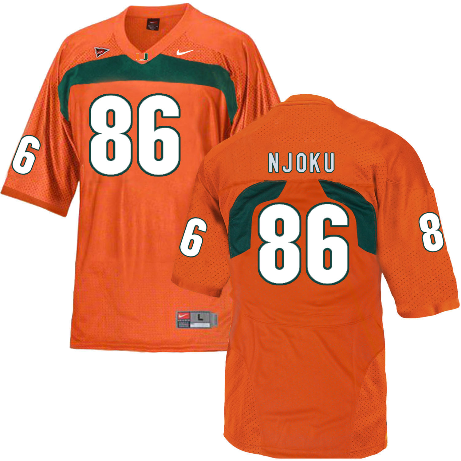 Miami Hurricanes 86 David Njoku Orange College Football Jersey
