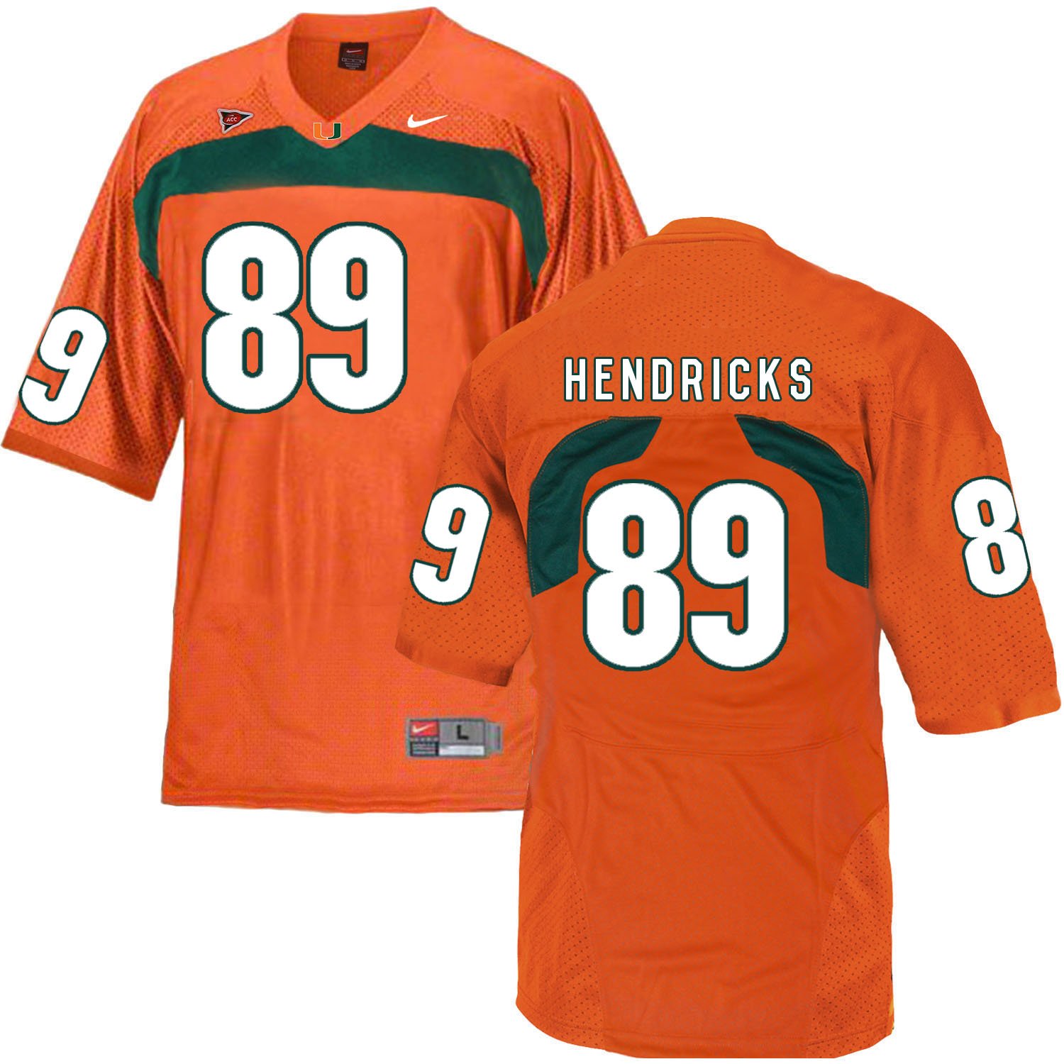 Miami Hurricanes 89 Hendricks Orange College Football Jersey