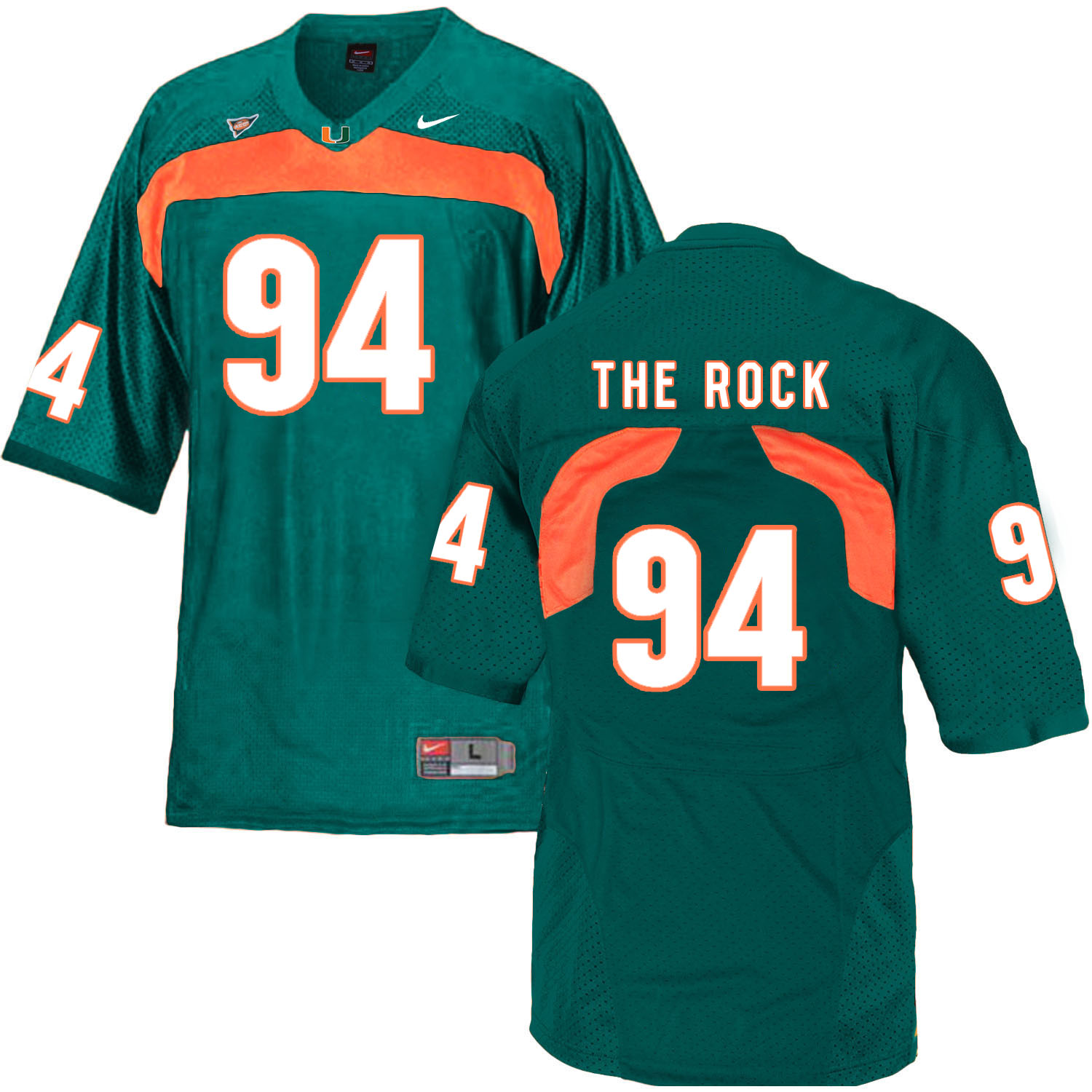 Miami Hurricanes 94 The Rock Green College Football Jersey