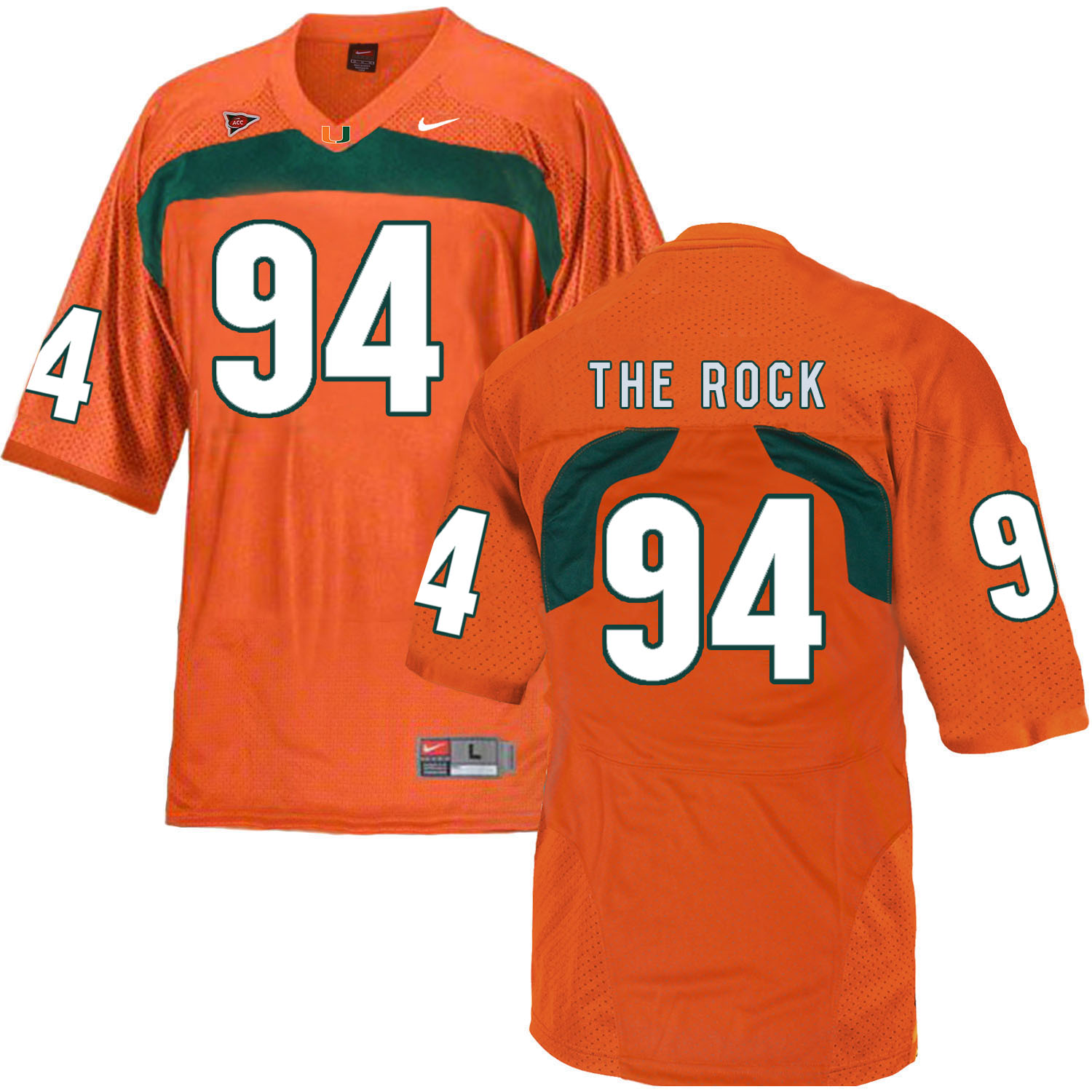 Miami Hurricanes 94 The Rock Orange College Football Jersey