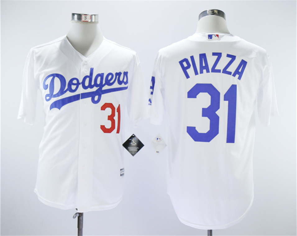 Dodgers 31 Mike Piazza White Throwback Cool Base Jersey