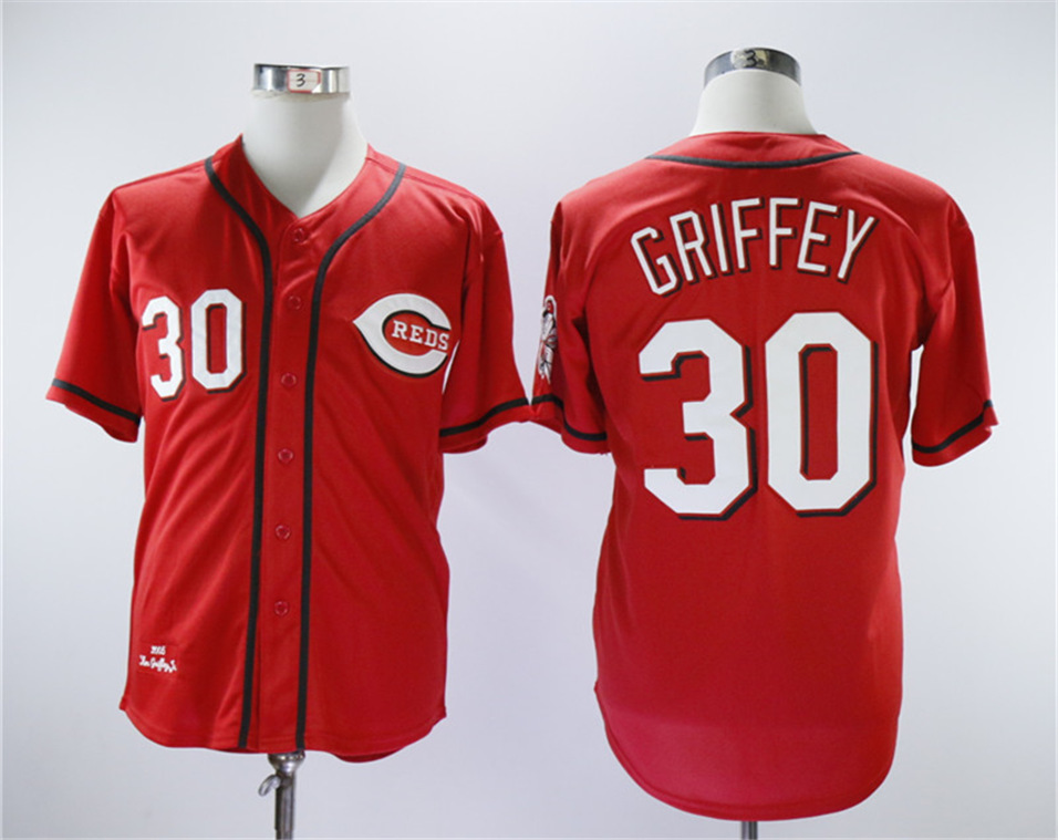 Reds 30 Ken Griffey Jr Red Throwback Jersey