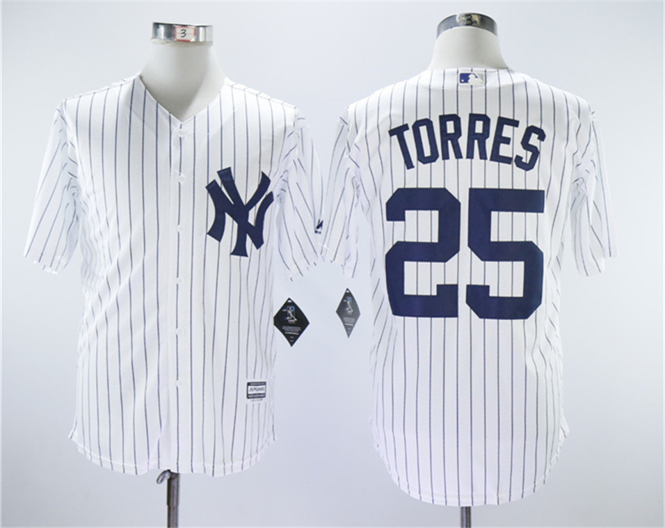 Yankees 25 Gleyber Torres White Cool Base Replica Player Jersey