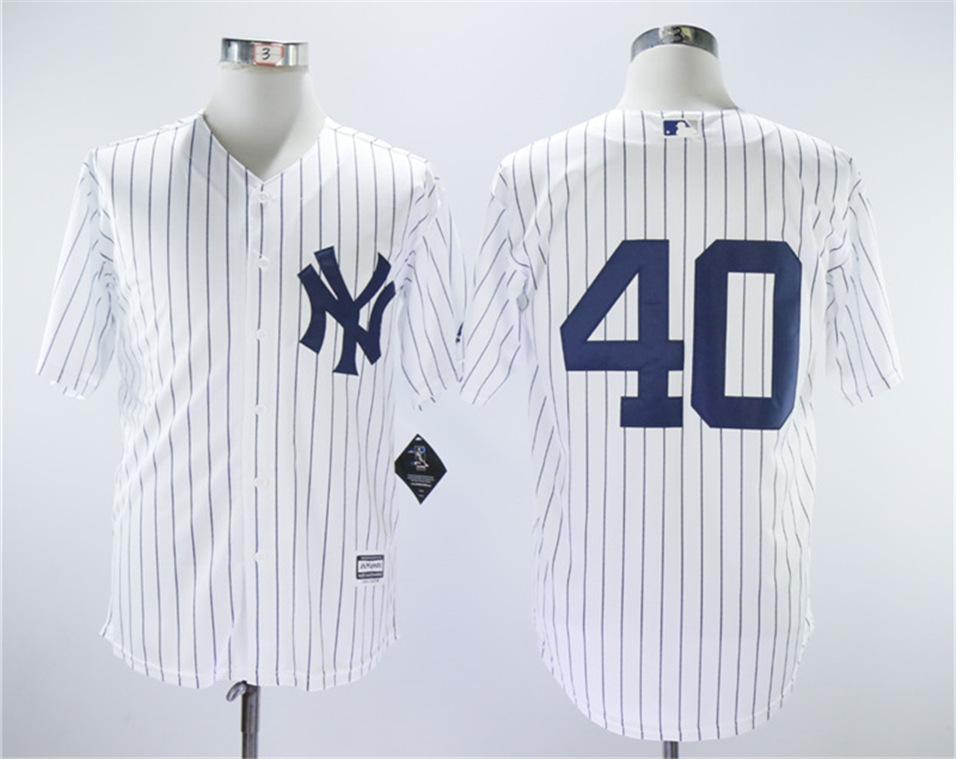 Yankees 40 Luis Severino White Cool Base Jersey