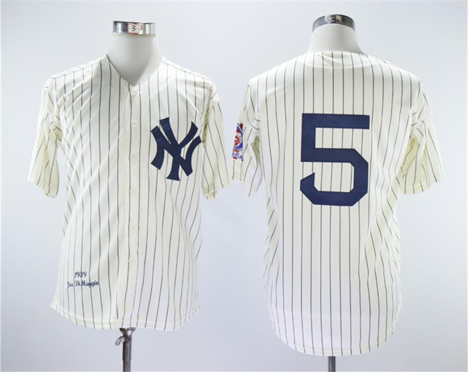 Yankees 5 Joe Dimaggio Cream 1939 Throwback Jersey