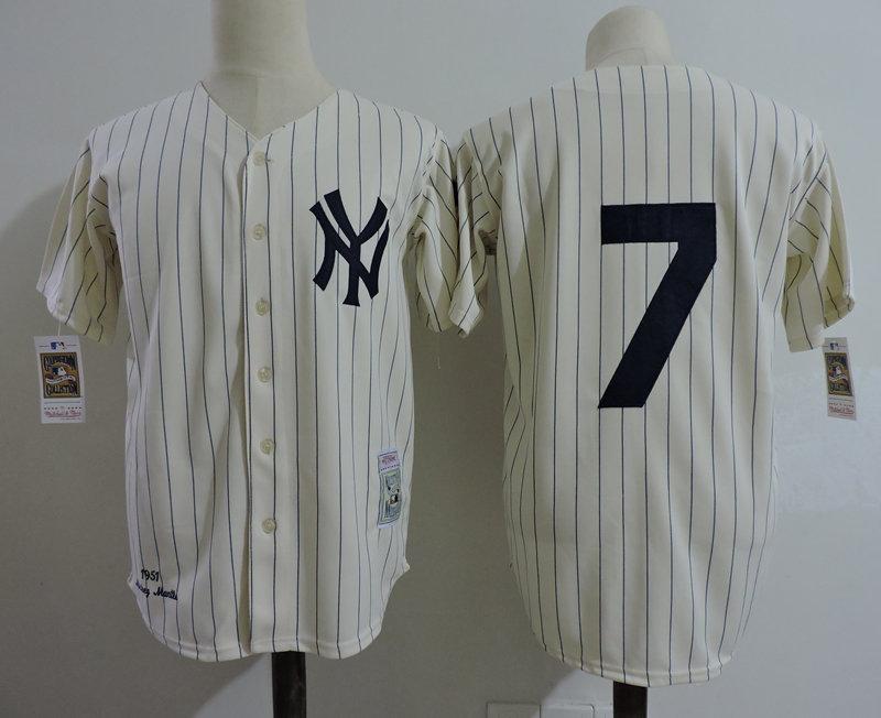 Yankees 7 Yoji Berra Cream 1951 Throwback Jersey
